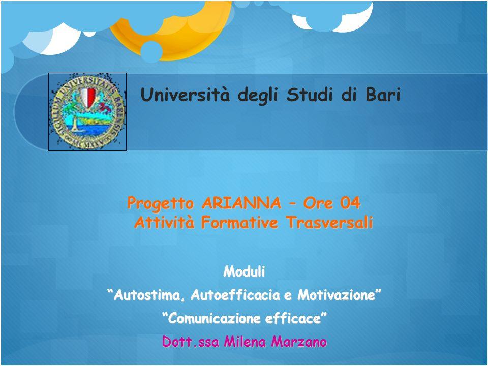 Università degli Studi di Bari Progetto ARIANNA – Ore 04 Attività Formative Trasversali Moduli Autostima, Autoefficacia e Motivazione Comunicazione ef