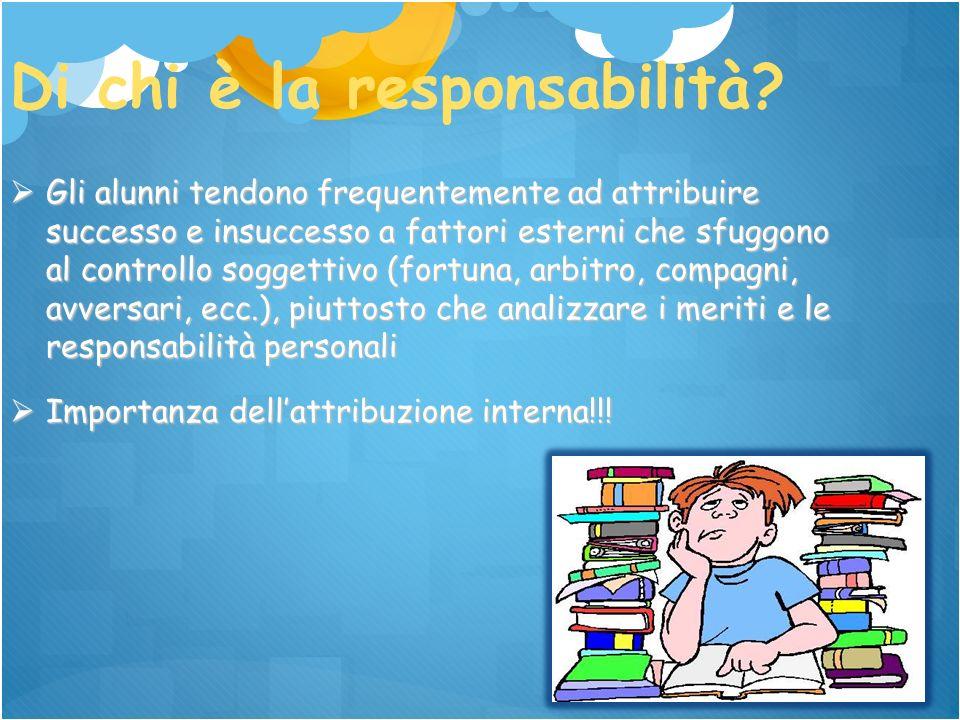 Di chi è la responsabilità? Gli alunni tendono frequentemente ad attribuire successo e insuccesso a fattori esterni che sfuggono al controllo soggetti