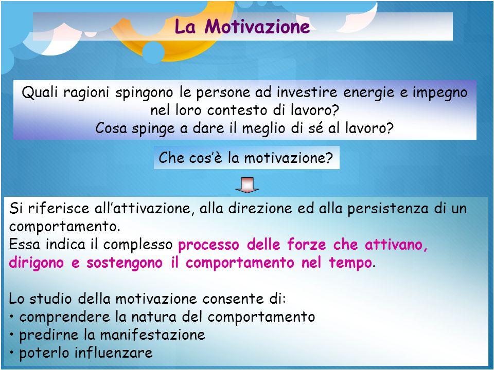 La Motivazione Quali ragioni spingono le persone ad investire energie e impegno nel loro contesto di lavoro? Cosa spinge a dare il meglio di sé al lav