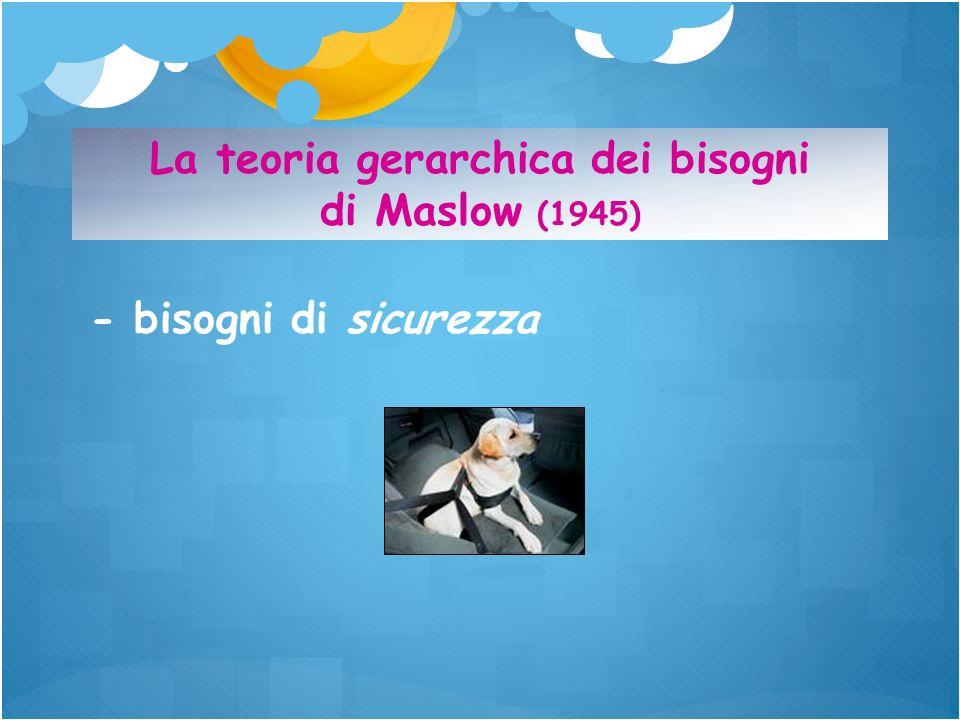 - bisogni di sicurezza La teoria gerarchica dei bisogni di Maslow (1945)