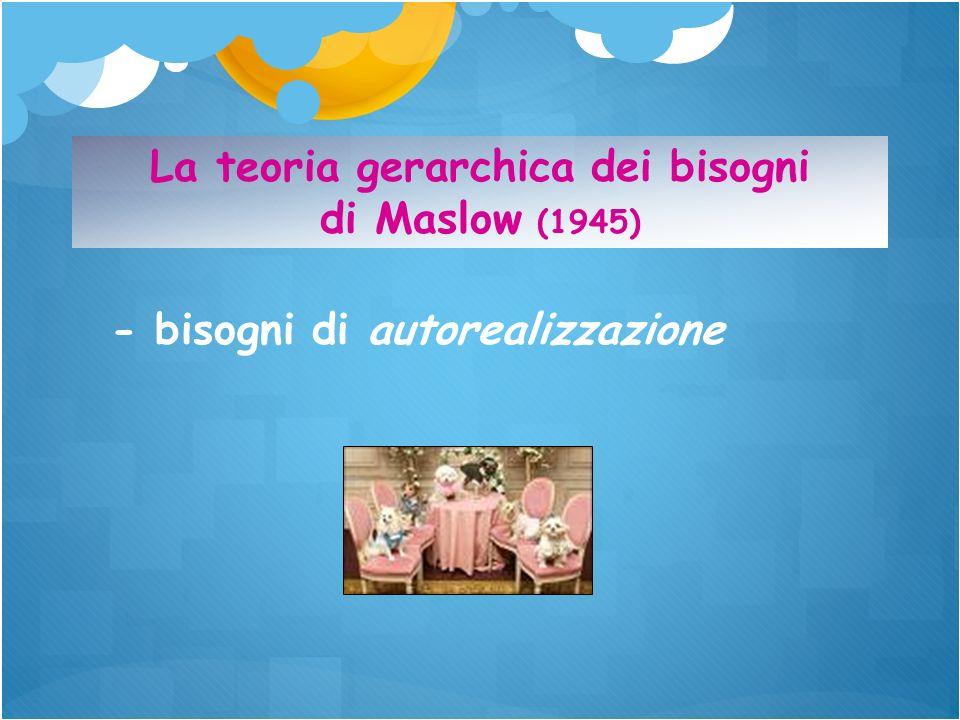 - bisogni di autorealizzazione La teoria gerarchica dei bisogni di Maslow (1945)