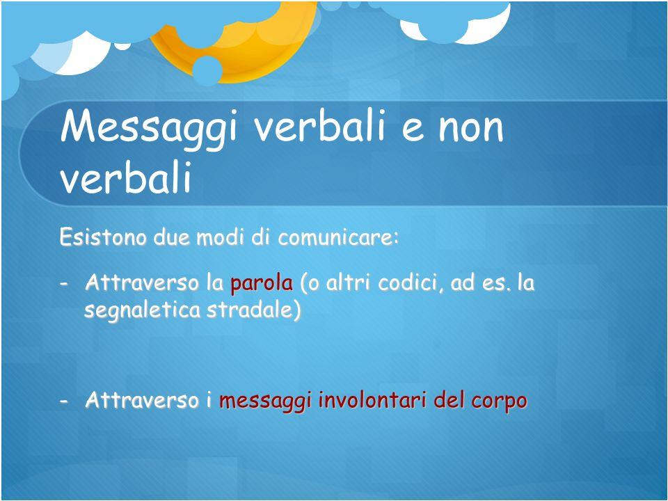 Messaggi verbali e non verbali Esistono due modi di comunicare: -Attraverso la parola (o altri codici, ad es. la segnaletica stradale) -Attraverso i m