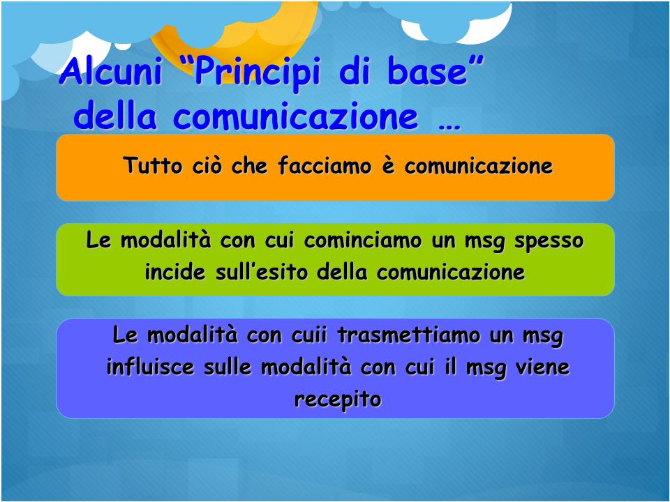 Tutto ciò che facciamo è comunicazione Le modalità con cui cominciamo un msg spesso incide sullesito della comunicazione Le modalità con cuii trasmett
