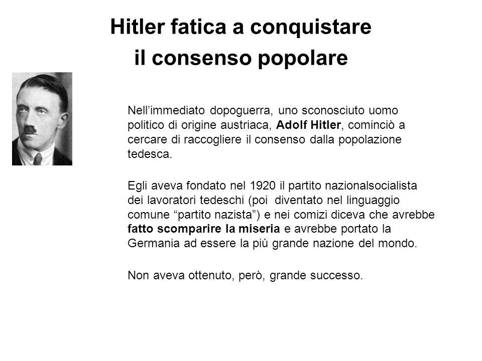 Hitler fatica a conquistare il consenso popolare Nellimmediato dopoguerra, uno sconosciuto uomo politico di origine austriaca, Adolf Hitler, cominciò