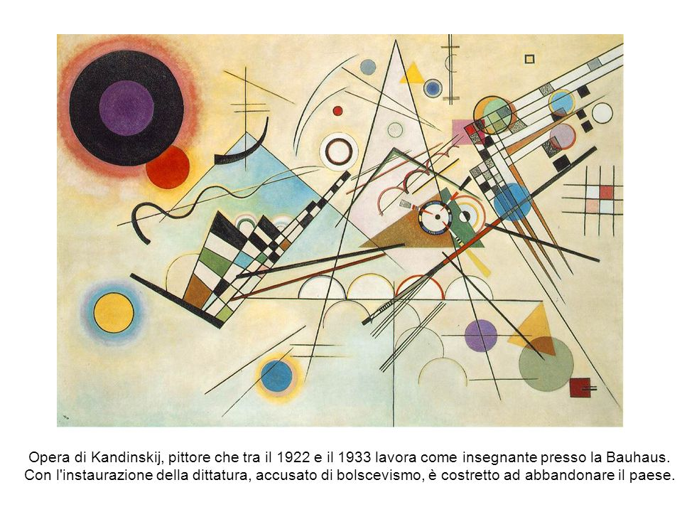 Opera di Kandinskij, pittore che tra il 1922 e il 1933 lavora come insegnante presso la Bauhaus. Con l'instaurazione della dittatura, accusato di bols