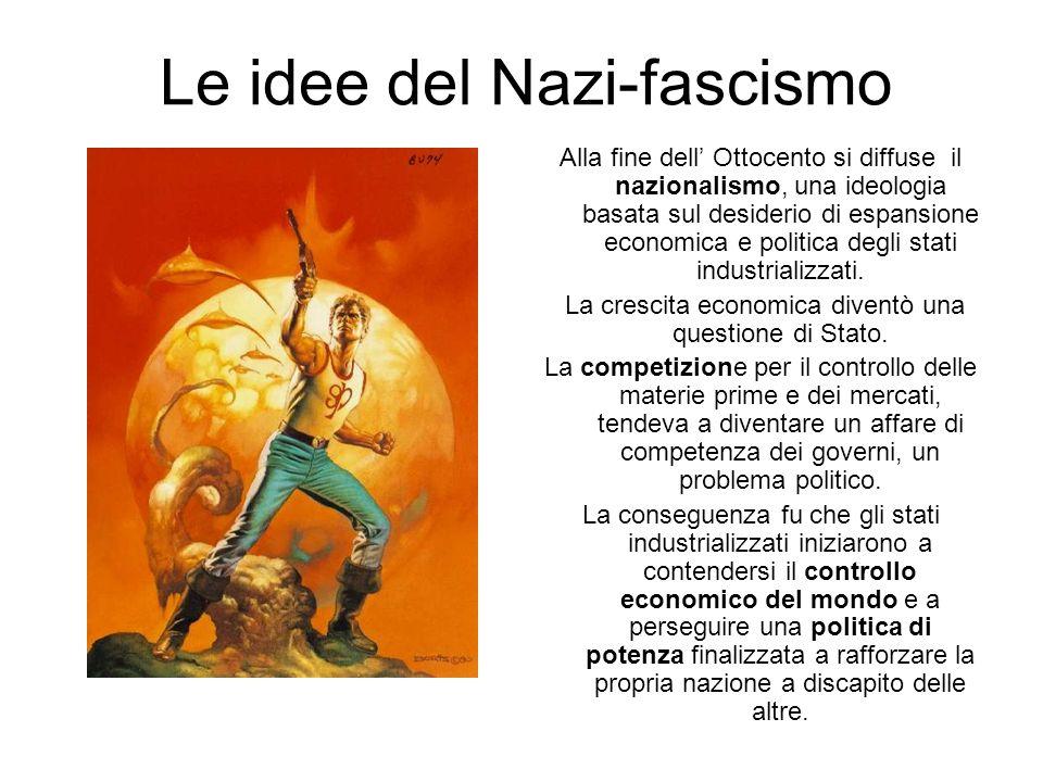 Le idee del Nazi-fascismo Alla fine dell Ottocento si diffuse il nazionalismo, una ideologia basata sul desiderio di espansione economica e politica d