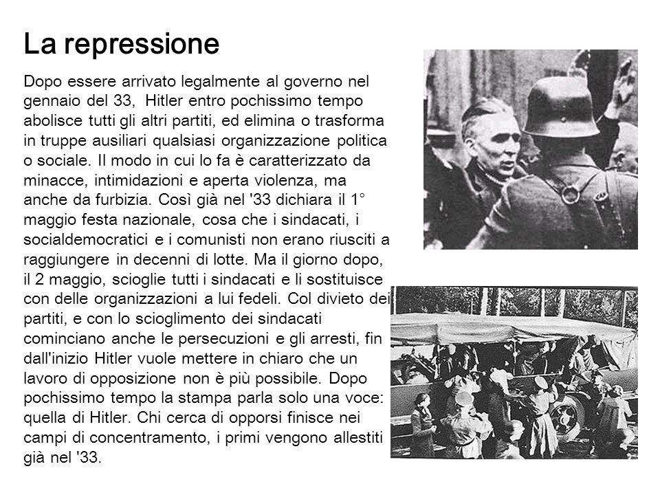 La repressione Dopo essere arrivato legalmente al governo nel gennaio del 33, Hitler entro pochissimo tempo abolisce tutti gli altri partiti, ed elimi