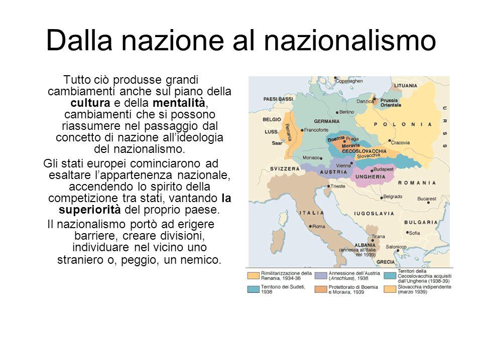 Dalla nazione al nazionalismo Tutto ciò produsse grandi cambiamenti anche sul piano della cultura e della mentalità, cambiamenti che si possono riassu