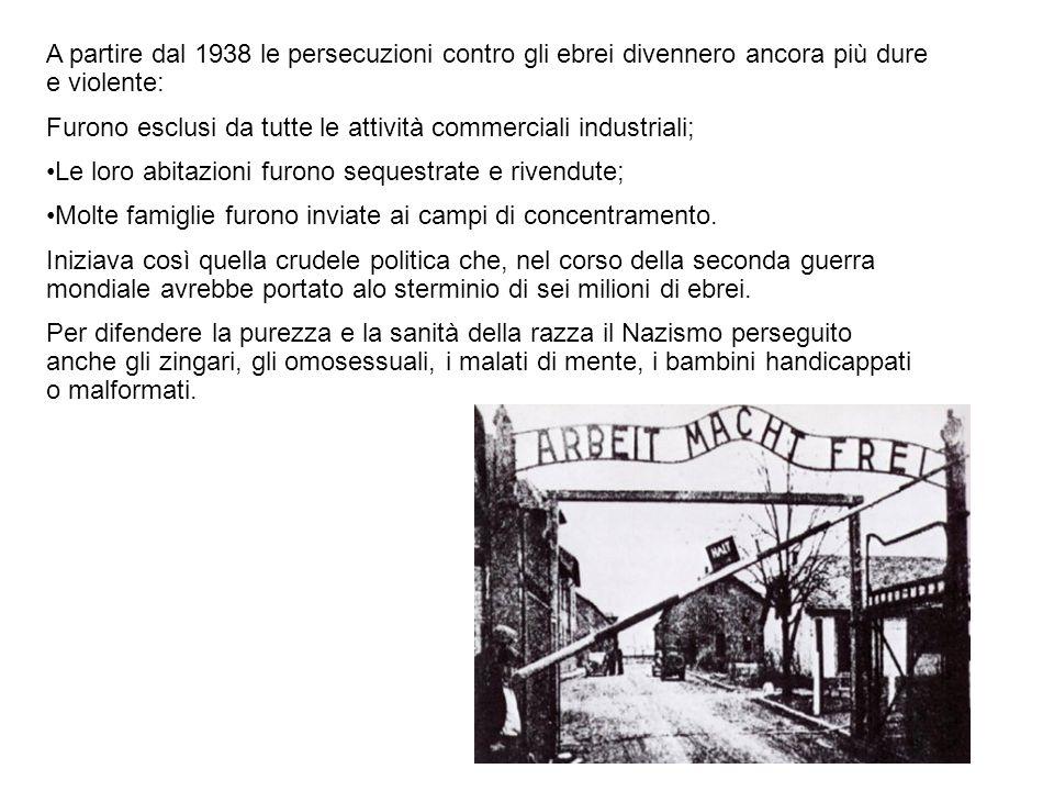 A partire dal 1938 le persecuzioni contro gli ebrei divennero ancora più dure e violente: Furono esclusi da tutte le attività commerciali industriali;