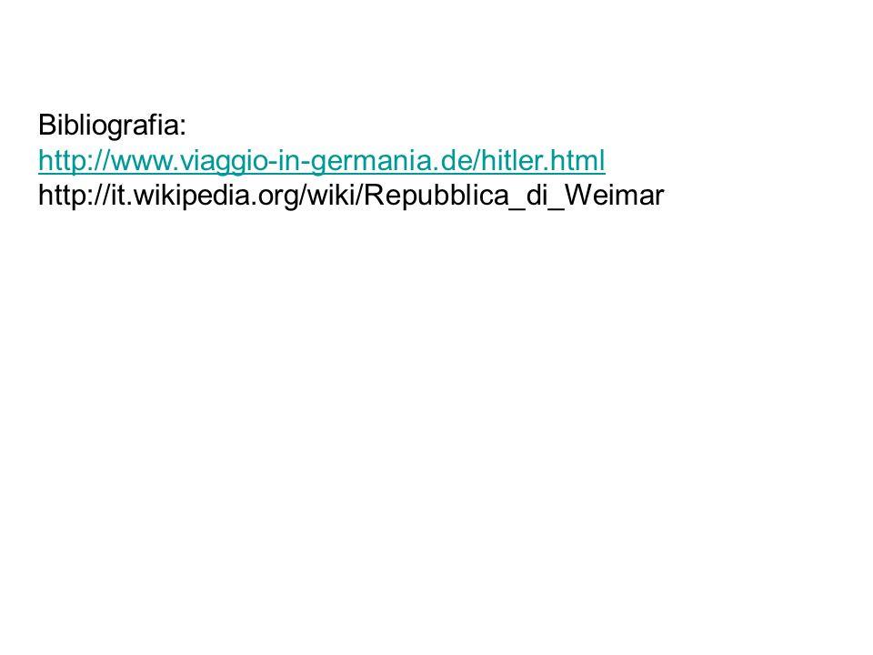 Bibliografia: http://www.viaggio-in-germania.de/hitler.html http://it.wikipedia.org/wiki/Repubblica_di_Weimar