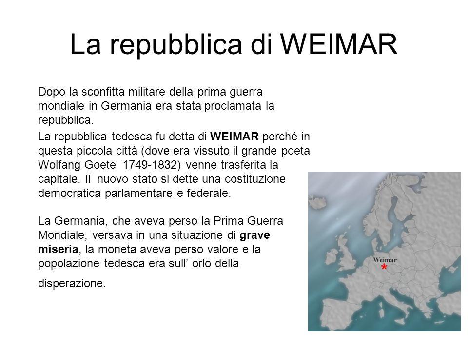 La repubblica di WEIMAR Dopo la sconfitta militare della prima guerra mondiale in Germania era stata proclamata la repubblica. La repubblica tedesca f