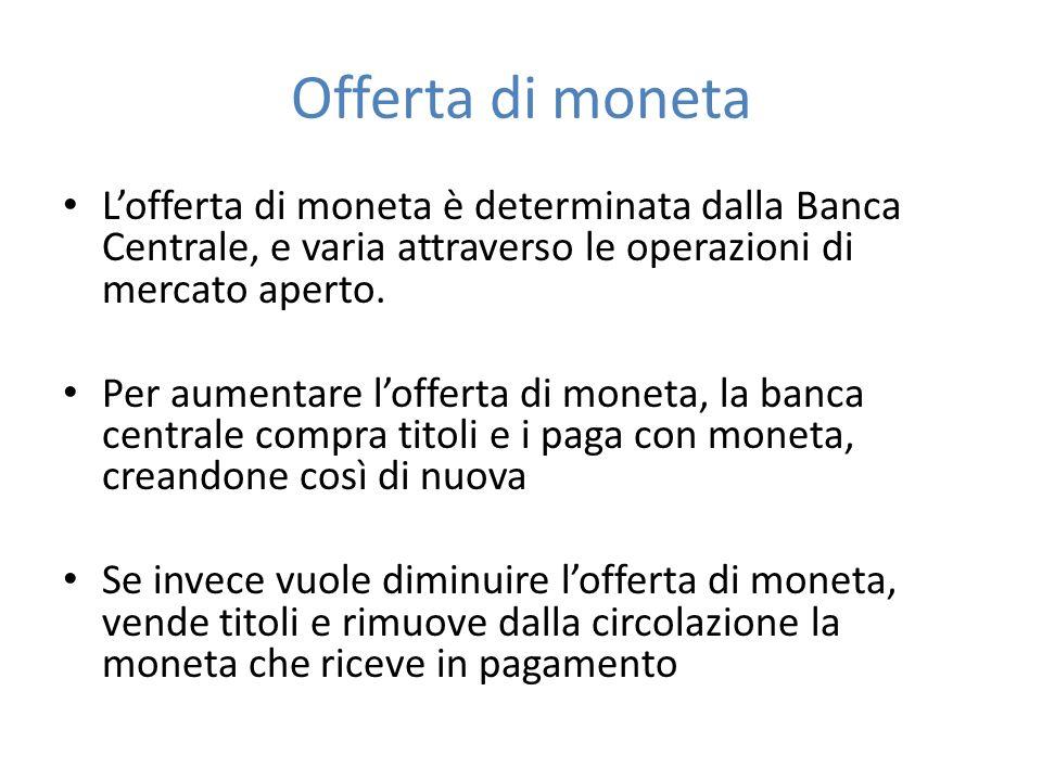 Offerta di moneta Lofferta di moneta è determinata dalla Banca Centrale, e varia attraverso le operazioni di mercato aperto. Per aumentare lofferta di