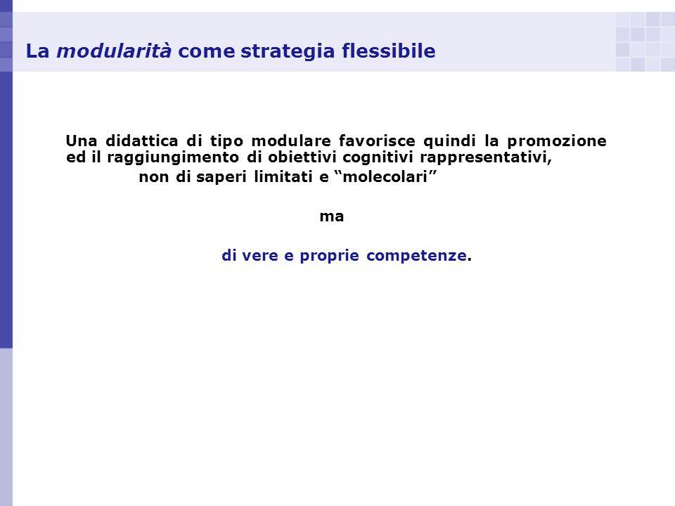 La modularità come strategia flessibile Una didattica di tipo modulare favorisce quindi la promozione ed il raggiungimento di obiettivi cognitivi rapp
