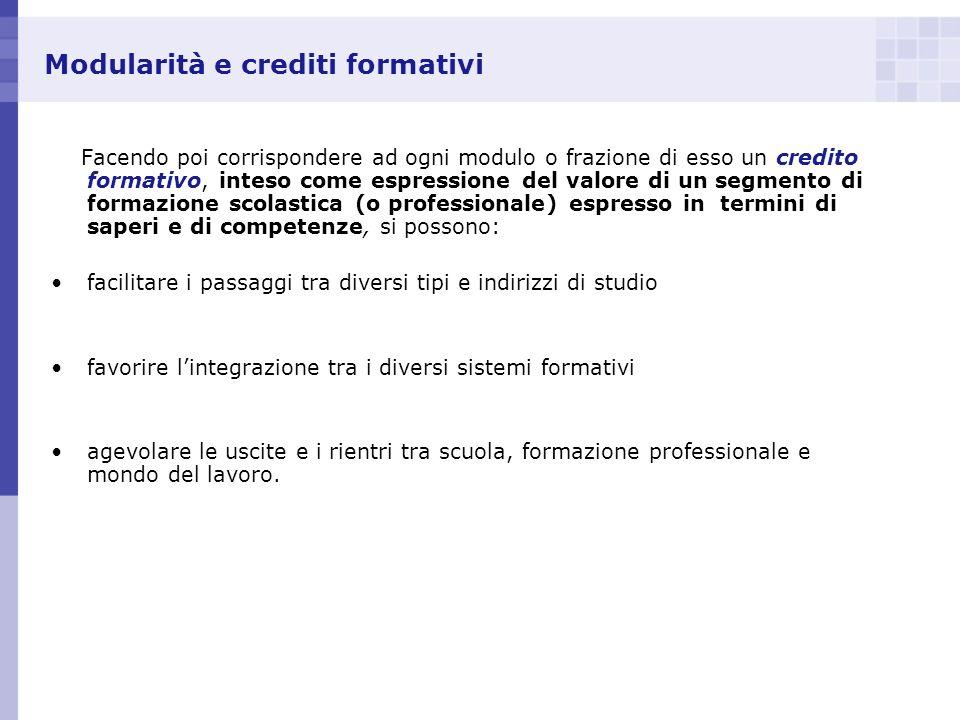 Modularità e crediti formativi Facendo poi corrispondere ad ogni modulo o frazione di esso un credito formativo, inteso come espressione del valore di