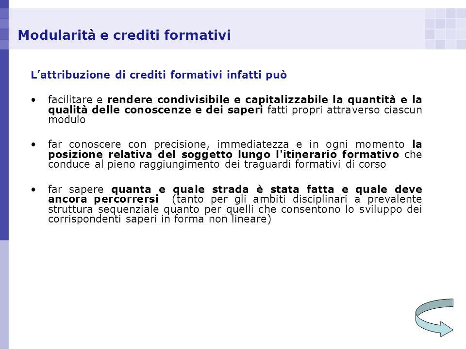 Modularità e crediti formativi Lattribuzione di crediti formativi infatti può facilitare e rendere condivisibile e capitalizzabile la quantità e la qu