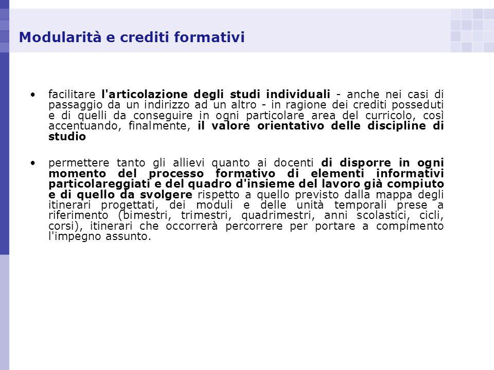 Modularità e crediti formativi facilitare l'articolazione degli studi individuali - anche nei casi di passaggio da un indirizzo ad un altro - in ragio