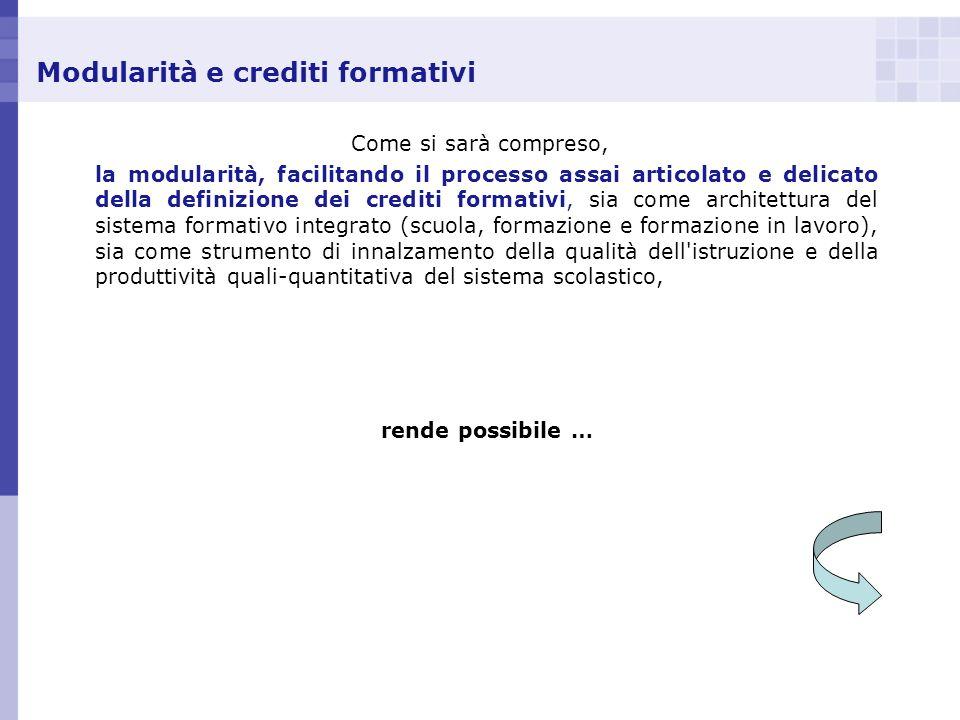 Modularità e crediti formativi Come si sarà compreso, la modularità, facilitando il processo assai articolato e delicato della definizione dei crediti