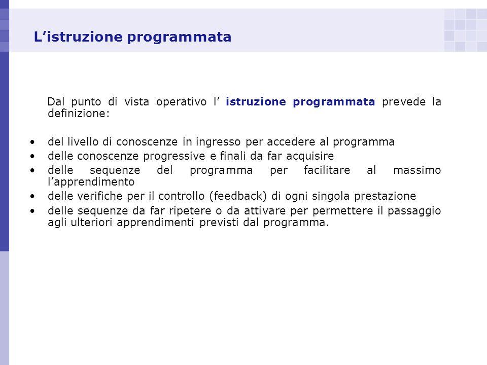 Listruzione programmata Dal punto di vista operativo l istruzione programmata prevede la definizione: del livello di conoscenze in ingresso per accede