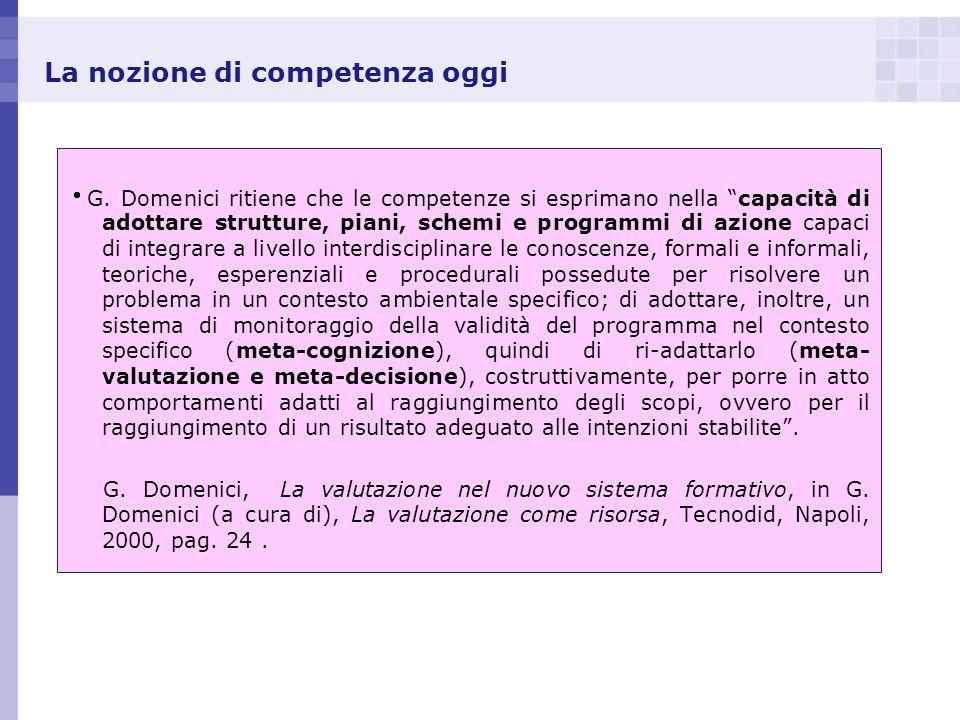 La nozione di competenza oggi G. Domenici ritiene che le competenze si esprimano nella capacità di adottare strutture, piani, schemi e programmi di az