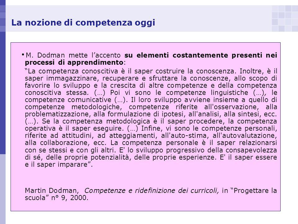 La nozione di competenza oggi M. Dodman mette laccento su elementi costantemente presenti nei processi di apprendimento: La competenza conoscitiva è i