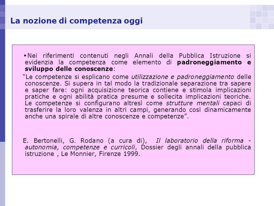 La nozione di competenza oggi Nei riferimenti contenuti negli Annali della Pubblica Istruzione si evidenzia la competenza come elemento di padroneggia
