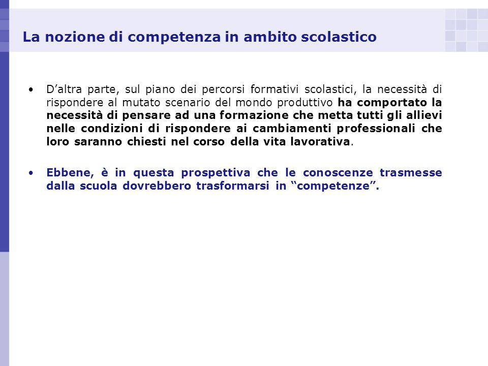 La nozione di competenza in ambito scolastico Daltra parte, sul piano dei percorsi formativi scolastici, la necessità di rispondere al mutato scenario