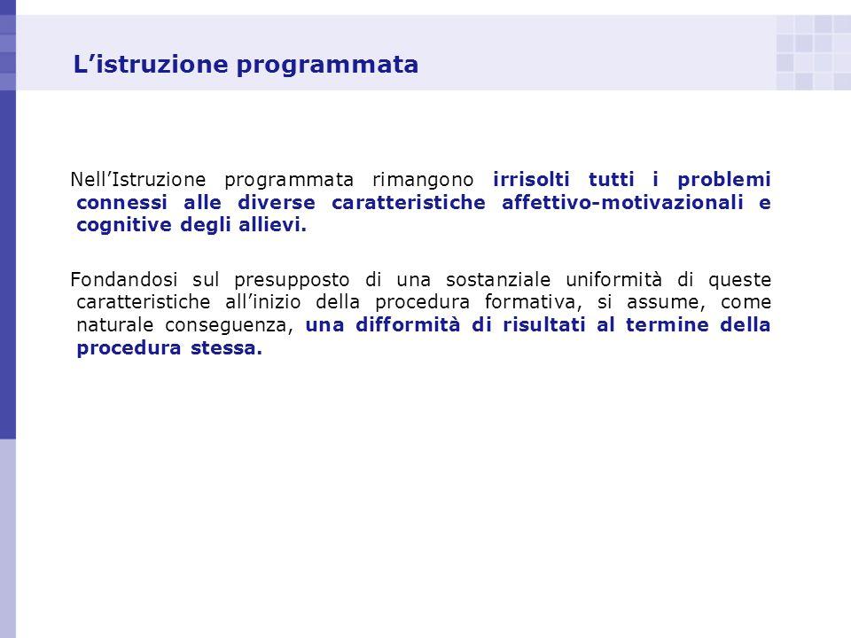 Listruzione programmata NellIstruzione programmata rimangono irrisolti tutti i problemi connessi alle diverse caratteristiche affettivo-motivazionali