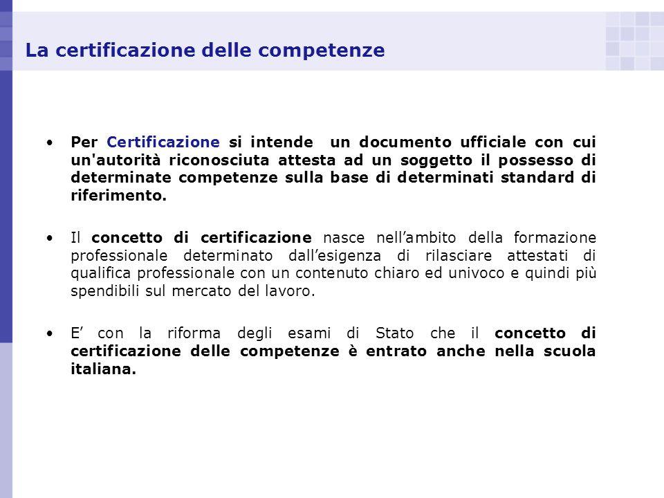 La certificazione delle competenze Per Certificazione si intende un documento ufficiale con cui un'autorit à riconosciuta attesta ad un soggetto il po