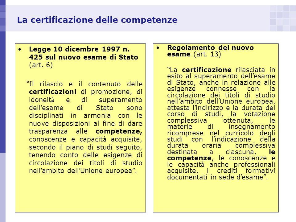 La certificazione delle competenze Legge 10 dicembre 1997 n. 425 sul nuovo esame di Stato (art. 6) Il rilascio e il contenuto delle certificazioni di