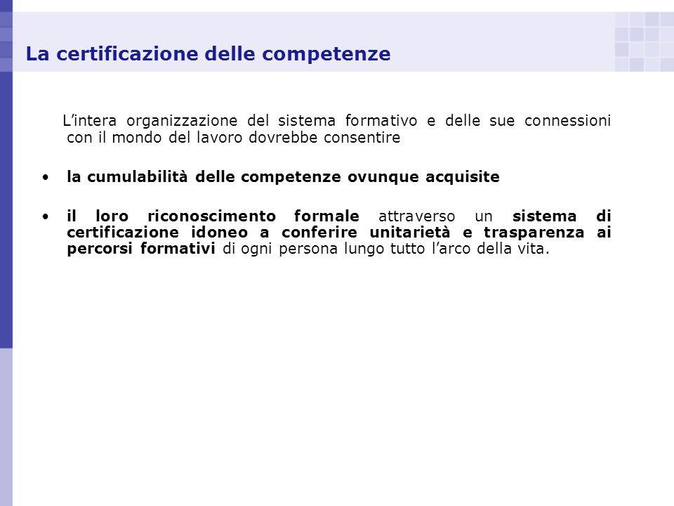 La certificazione delle competenze L intera organizzazione del sistema formativo e delle sue connessioni con il mondo del lavoro dovrebbe consentire l