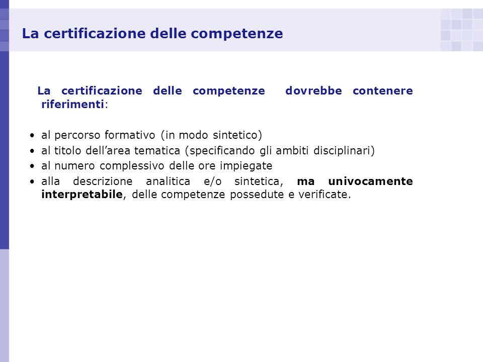 La certificazione delle competenze La certificazione delle competenze dovrebbe contenere riferimenti: al percorso formativo (in modo sintetico) al tit