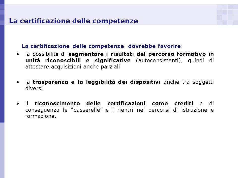 La certificazione delle competenze La certificazione delle competenze dovrebbe favorire: la possibilit à di segmentare i risultati del percorso format