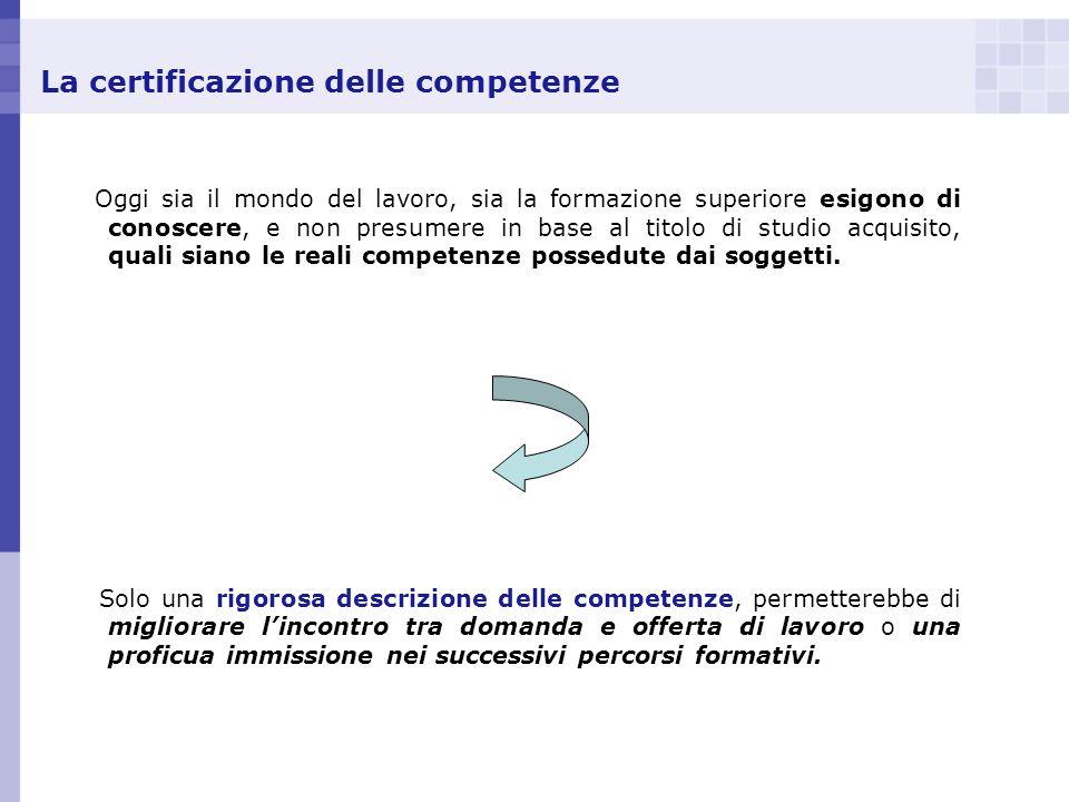 La certificazione delle competenze Oggi sia il mondo del lavoro, sia la formazione superiore esigono di conoscere, e non presumere in base al titolo d