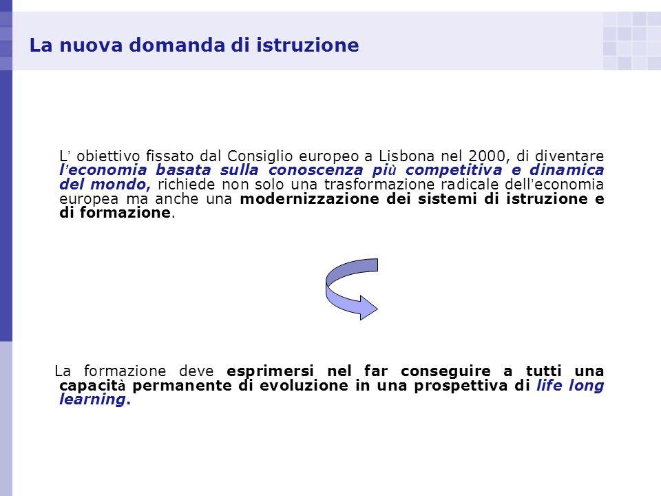 La nuova domanda di istruzione L obiettivo fissato dal Consiglio europeo a Lisbona nel 2000, di diventare l economia basata sulla conoscenza pi ù comp