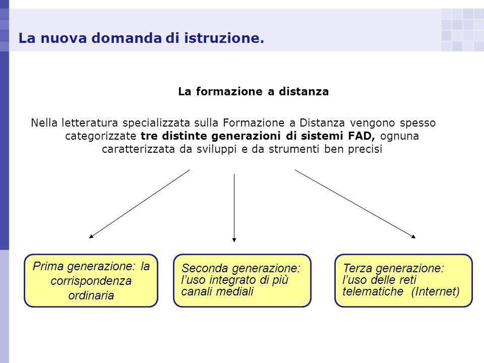 La nuova domanda di istruzione. La formazione a distanza Nella letteratura specializzata sulla Formazione a Distanza vengono spesso categorizzate tre