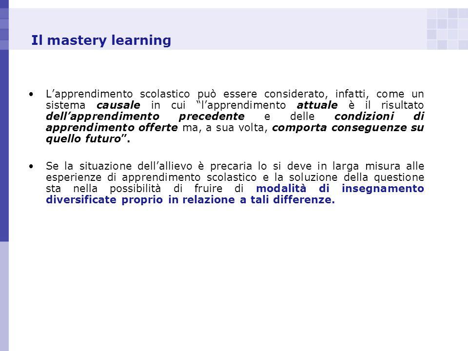 Il mastery learning Lapprendimento scolastico può essere considerato, infatti, come un sistema causale in cui lapprendimento attuale è il risultato de