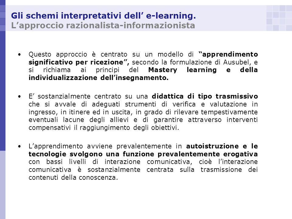 Gli schemi interpretativi dell e-learning. Lapproccio razionalista-informazionista Questo approccio è centrato su un modello di apprendimento signific