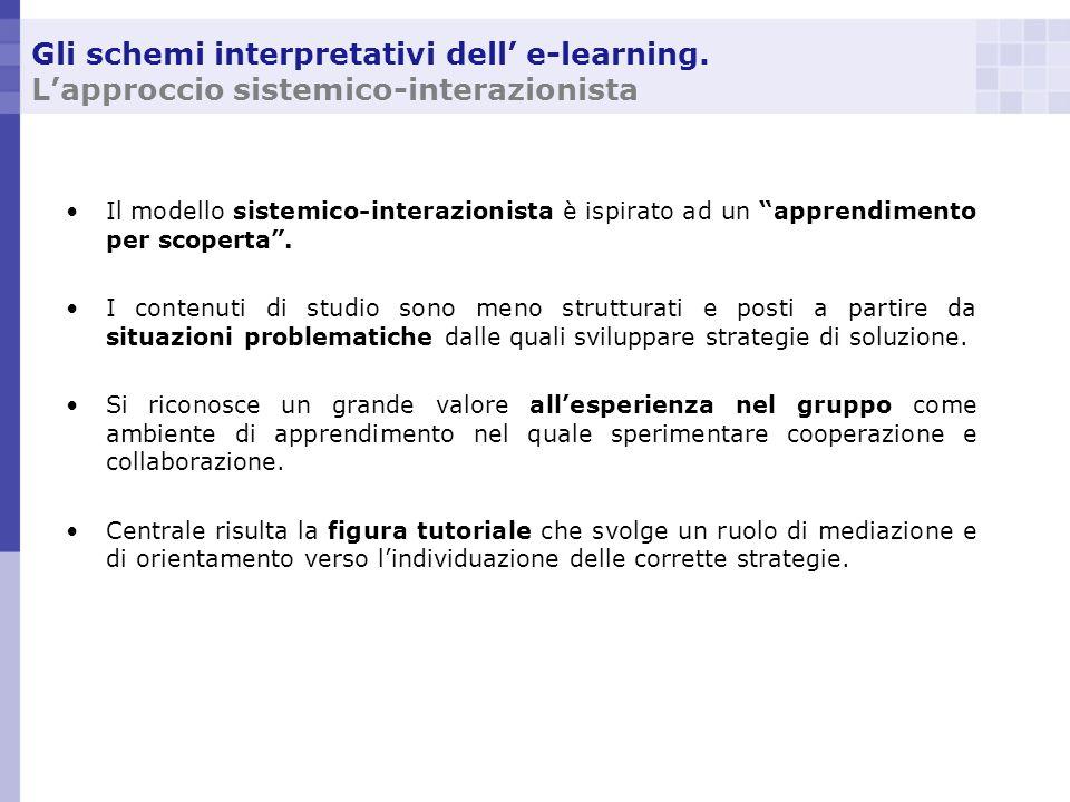 Gli schemi interpretativi dell e-learning. Lapproccio sistemico-interazionista Il modello sistemico-interazionista è ispirato ad un apprendimento per