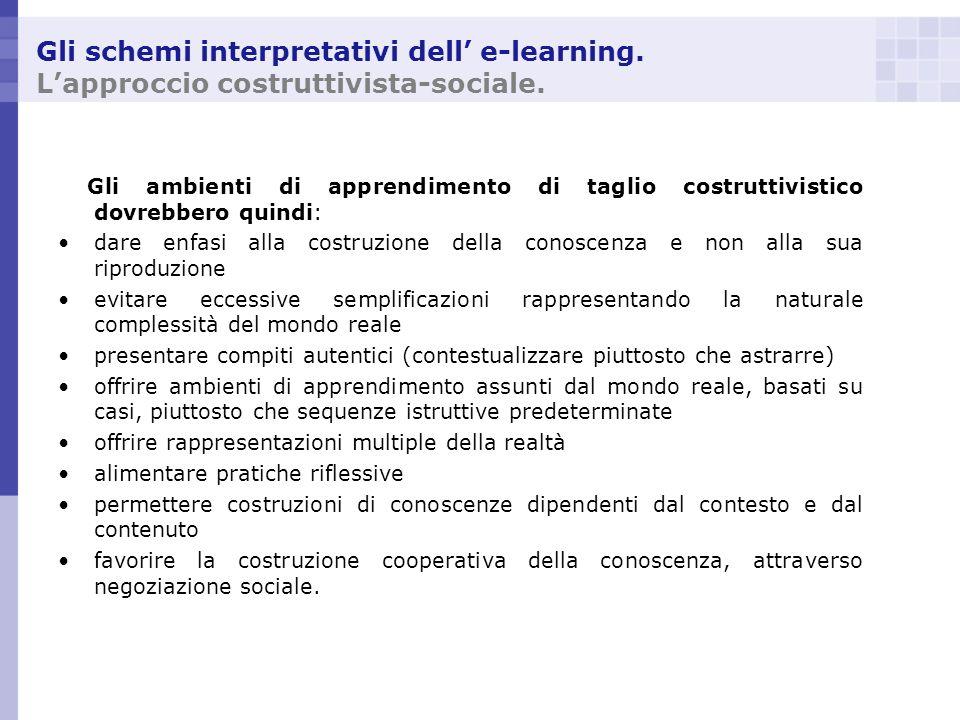 Gli schemi interpretativi dell e-learning. Lapproccio costruttivista-sociale. Gli ambienti di apprendimento di taglio costruttivistico dovrebbero quin