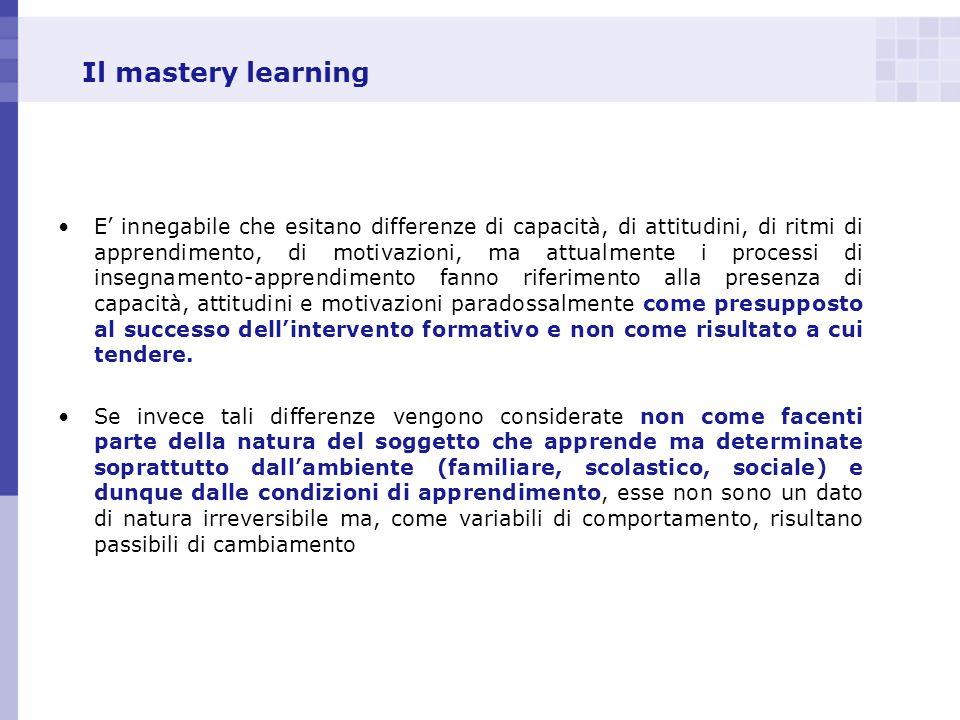 Il mastery learning E innegabile che esitano differenze di capacità, di attitudini, di ritmi di apprendimento, di motivazioni, ma attualmente i proces