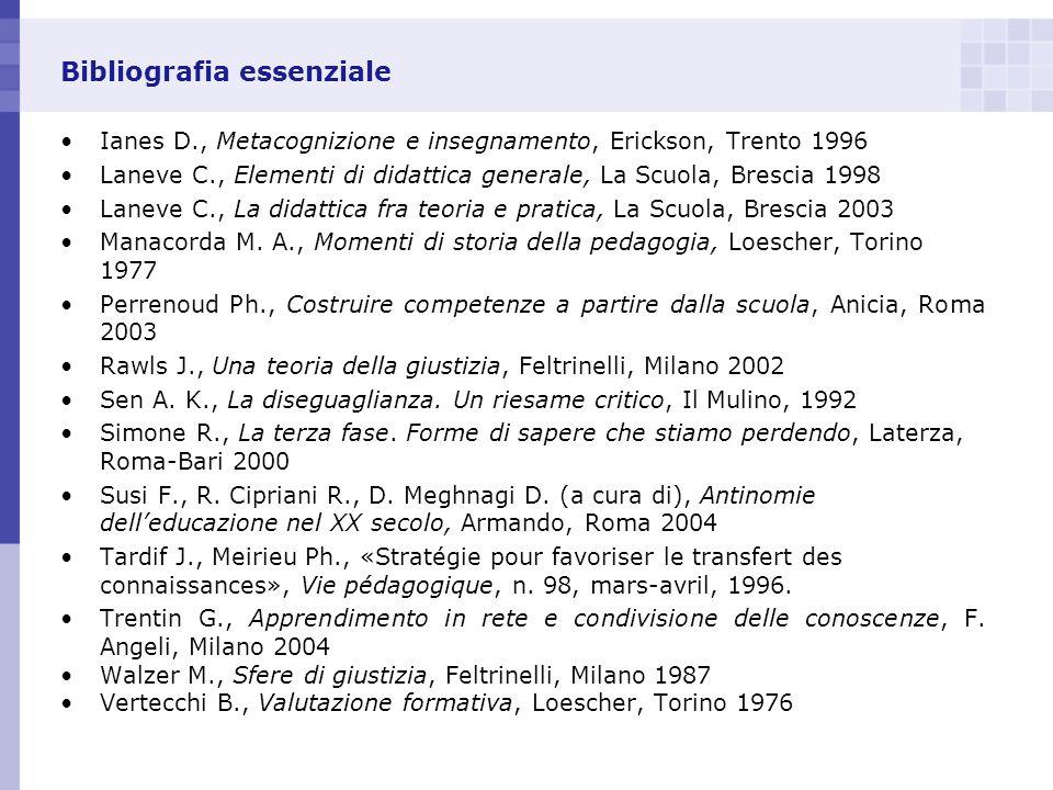 Bibliografia essenziale Ianes D., Metacognizione e insegnamento, Erickson, Trento 1996 Laneve C., Elementi di didattica generale, La Scuola, Brescia 1