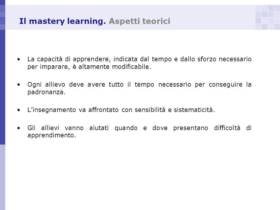 Il mastery learning. Aspetti teorici La capacità di apprendere, indicata dal tempo e dallo sforzo necessario per imparare, è altamente modificabile. O