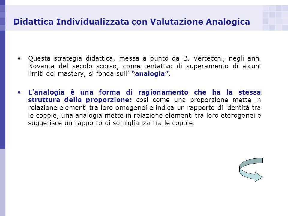 Didattica Individualizzata con Valutazione Analogica Questa strategia didattica, messa a punto da B. Vertecchi, negli anni Novanta del secolo scorso,