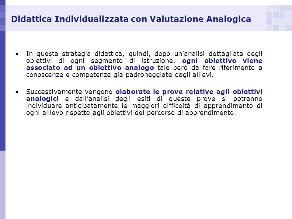 Didattica Individualizzata con Valutazione Analogica In questa strategia didattica, quindi, dopo unanalisi dettagliata degli obiettivi di ogni segment