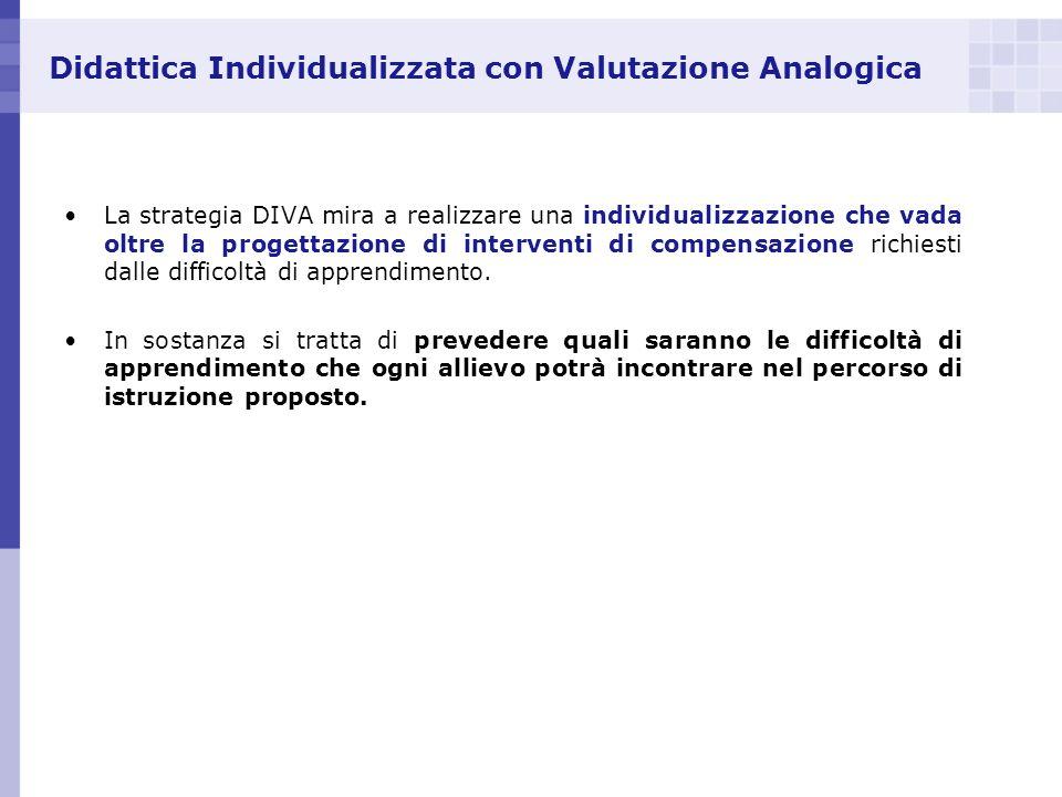 Didattica Individualizzata con Valutazione Analogica La strategia DIVA mira a realizzare una individualizzazione che vada oltre la progettazione di in