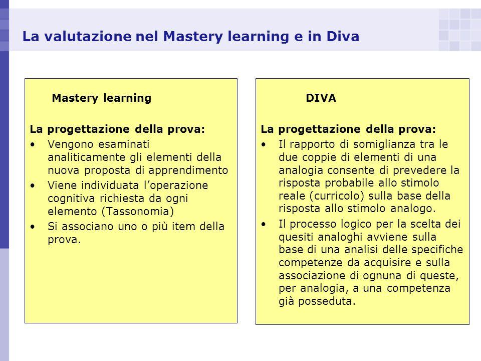 La valutazione nel Mastery learning e in Diva Mastery learning La progettazione della prova: Vengono esaminati analiticamente gli elementi della nuova