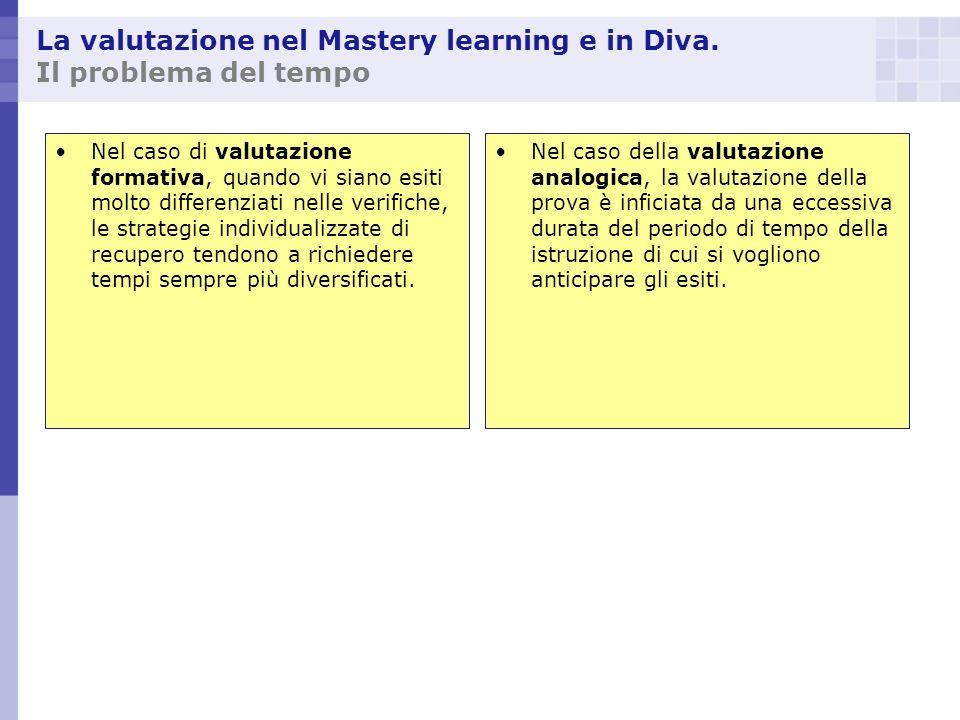 La valutazione nel Mastery learning e in Diva. Il problema del tempo Nel caso di valutazione formativa, quando vi siano esiti molto differenziati nell