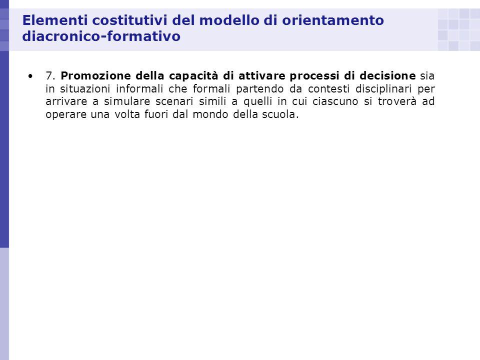 Elementi costitutivi del modello di orientamento diacronico-formativo 7. Promozione della capacità di attivare processi di decisione sia in situazioni