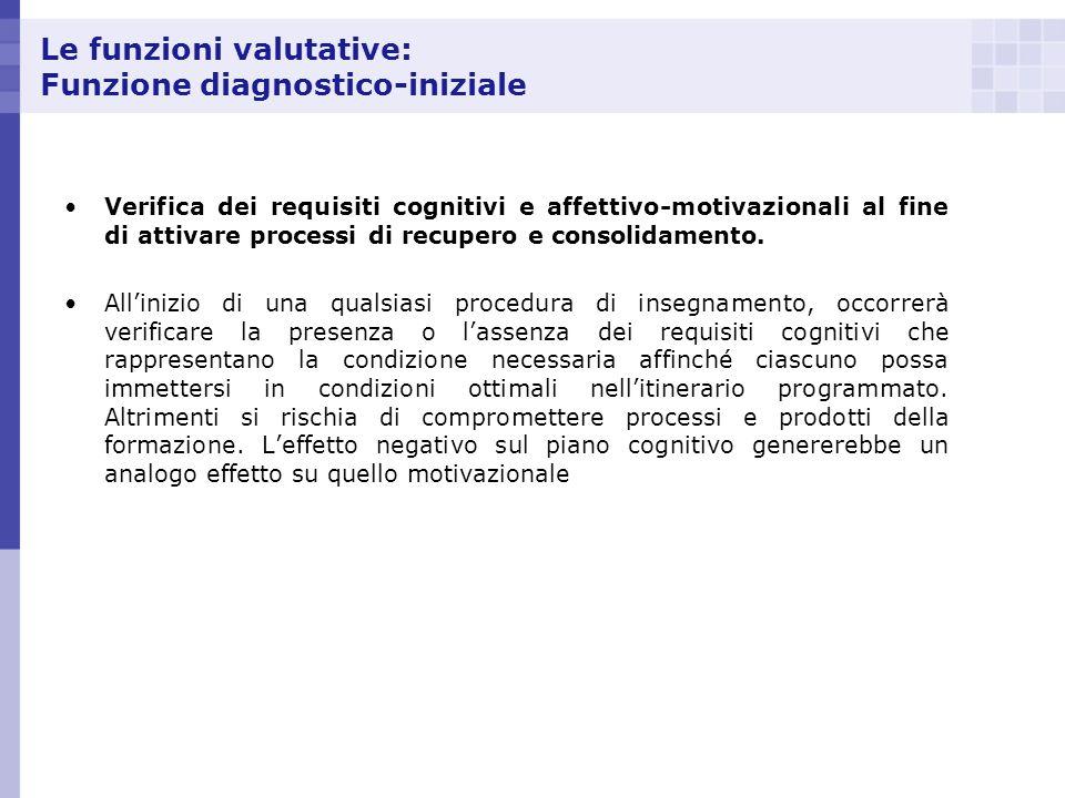 Le funzioni valutative: Funzione diagnostico-iniziale Verifica dei requisiti cognitivi e affettivo-motivazionali al fine di attivare processi di recup