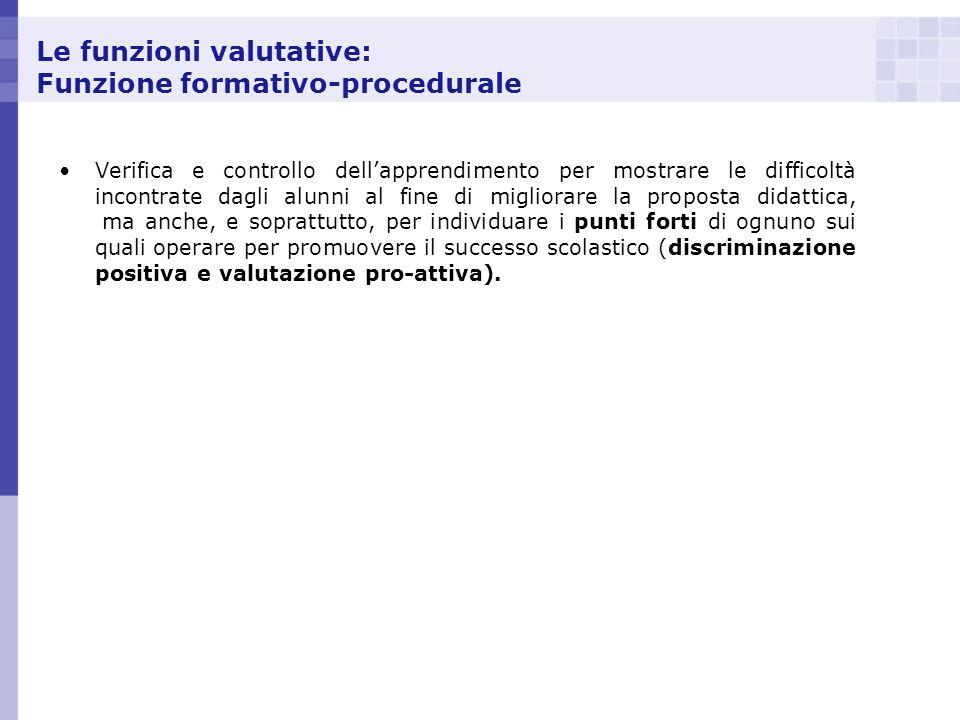 Le funzioni valutative: Funzione formativo-procedurale Verifica e controllo dellapprendimento per mostrare le difficoltà incontrate dagli alunni al fi